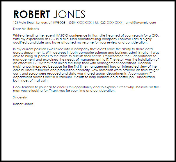 Cover Letter for Cio Position Cio Cover Letter Sample Cover Letter Templates Examples