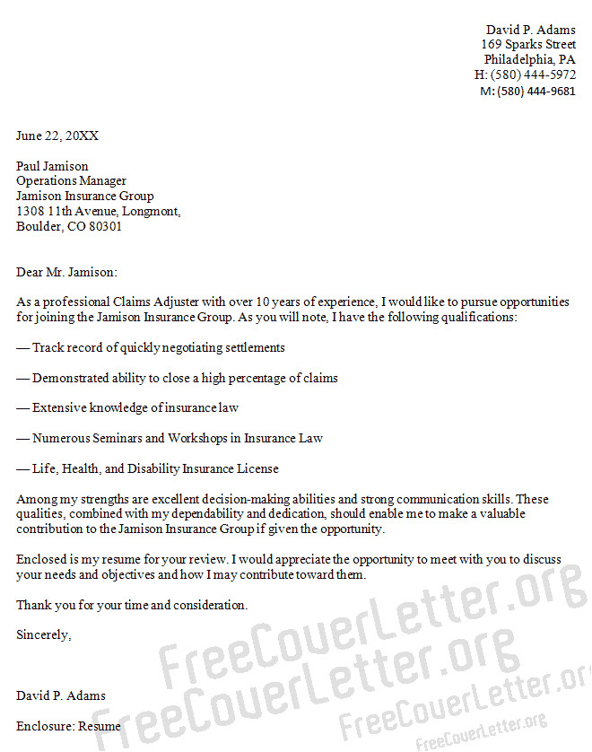 Cover Letter for Claims Adjuster Position Claims Adjuster Cover Letter Sample