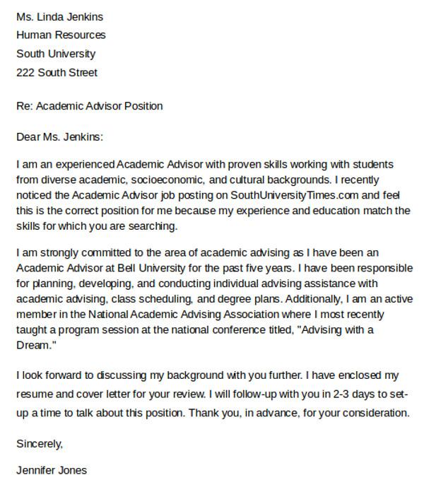 academic advisor cover letter