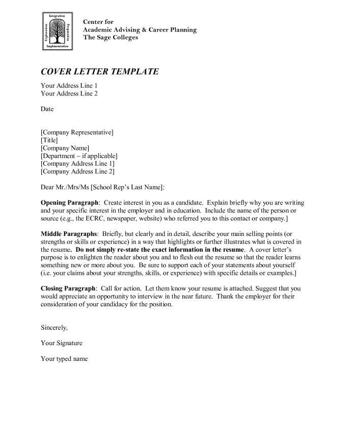 Cover Letter for College Academic Advisor Position Essay Cover Letter Template
