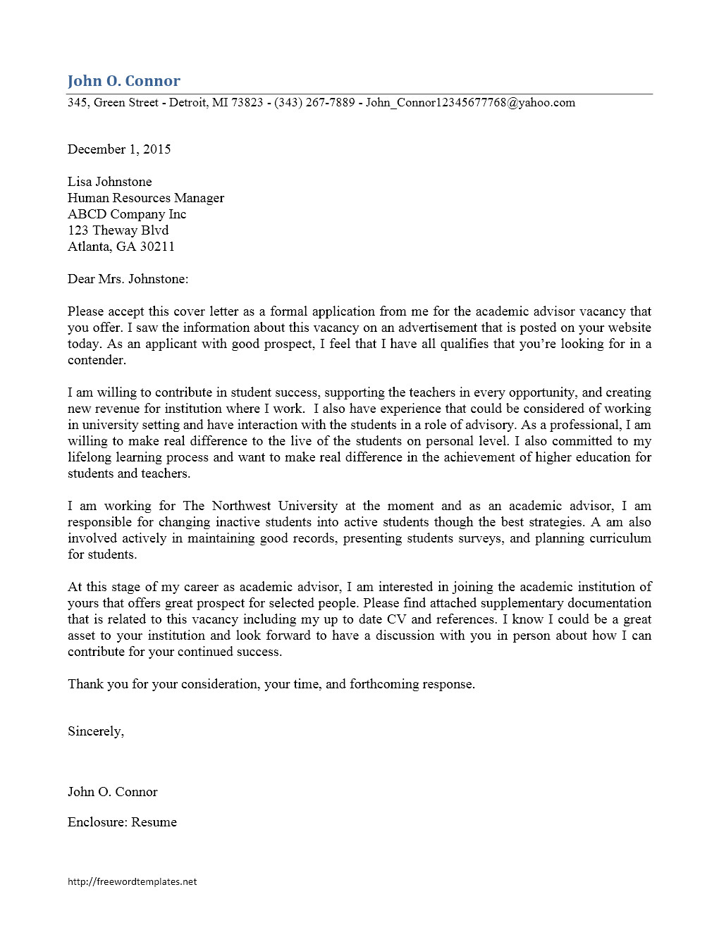 Cover Letter for College Academic Advisor Position Free Microsoft Word Templates Part 8