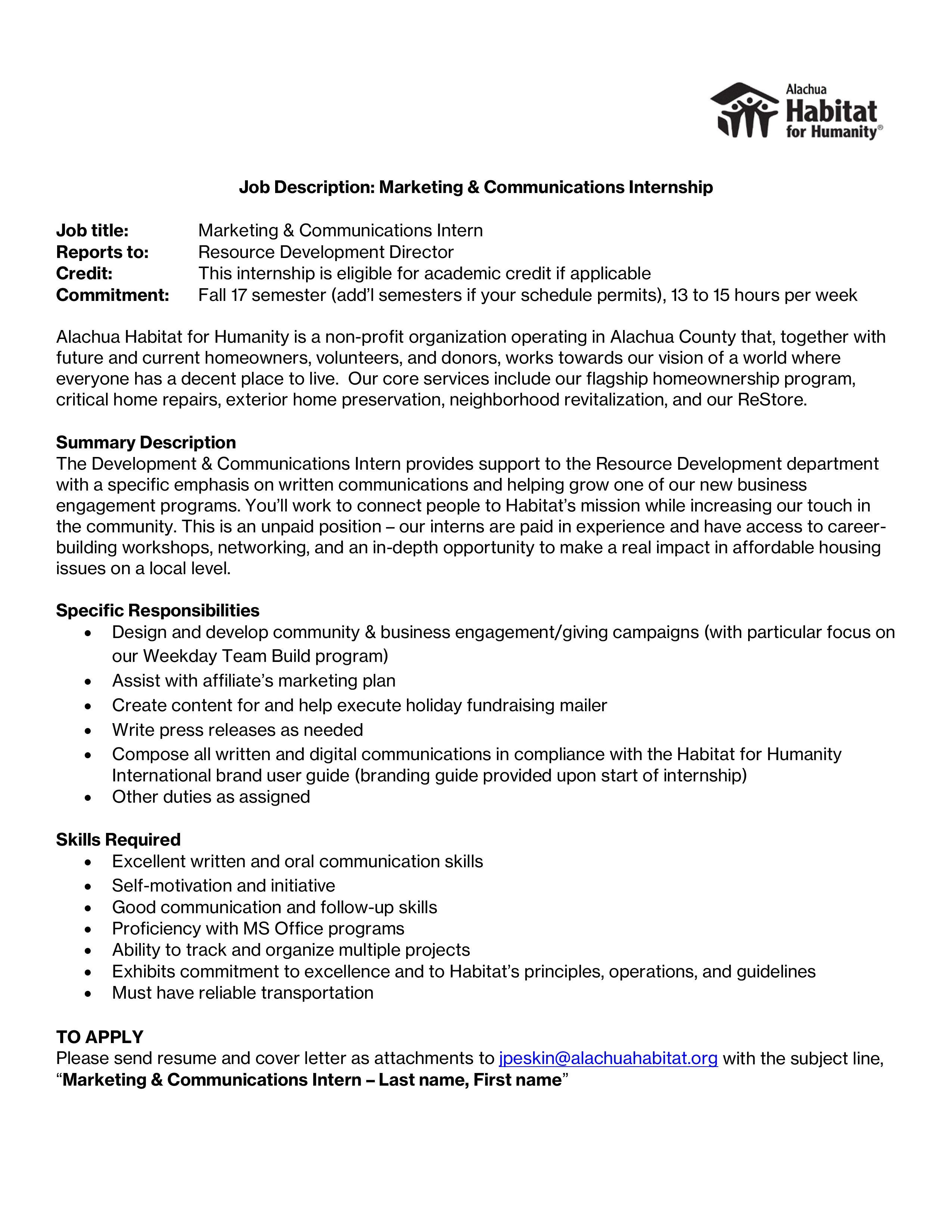 cover letter for internship communications