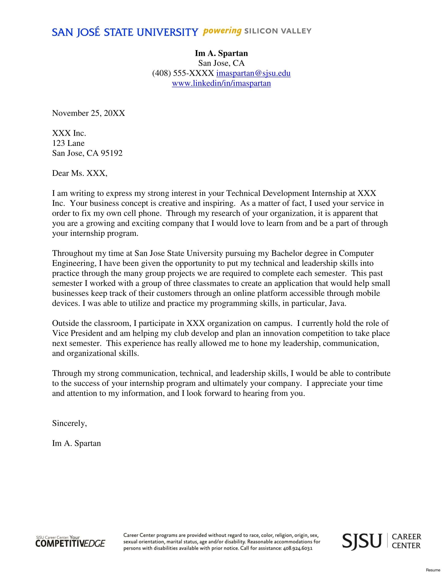 cover letter internship communication