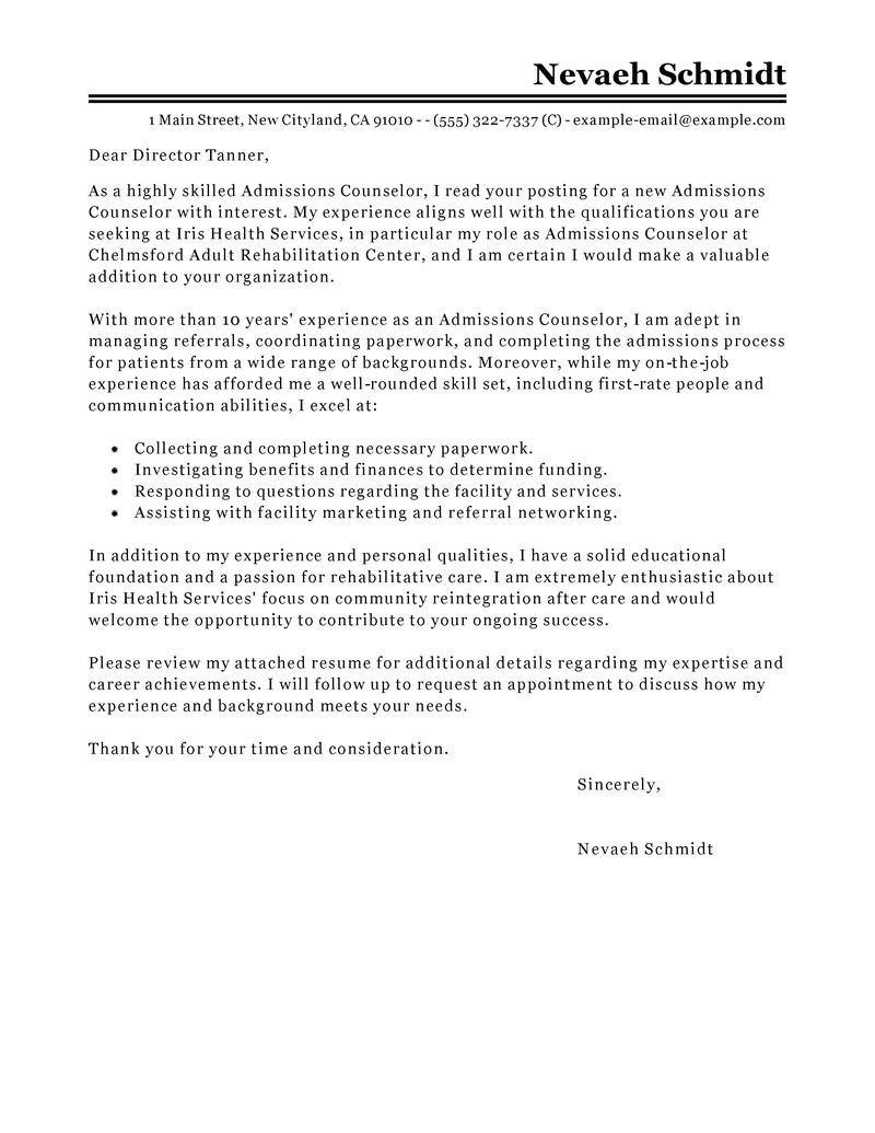 Cover Letter for Counseling Position Leading Professional Admissions Counselor Cover Letter