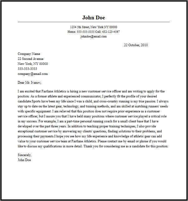 Cover Letter for Customer Care Officer Professional Customer Service Officer Cover Letter Sample