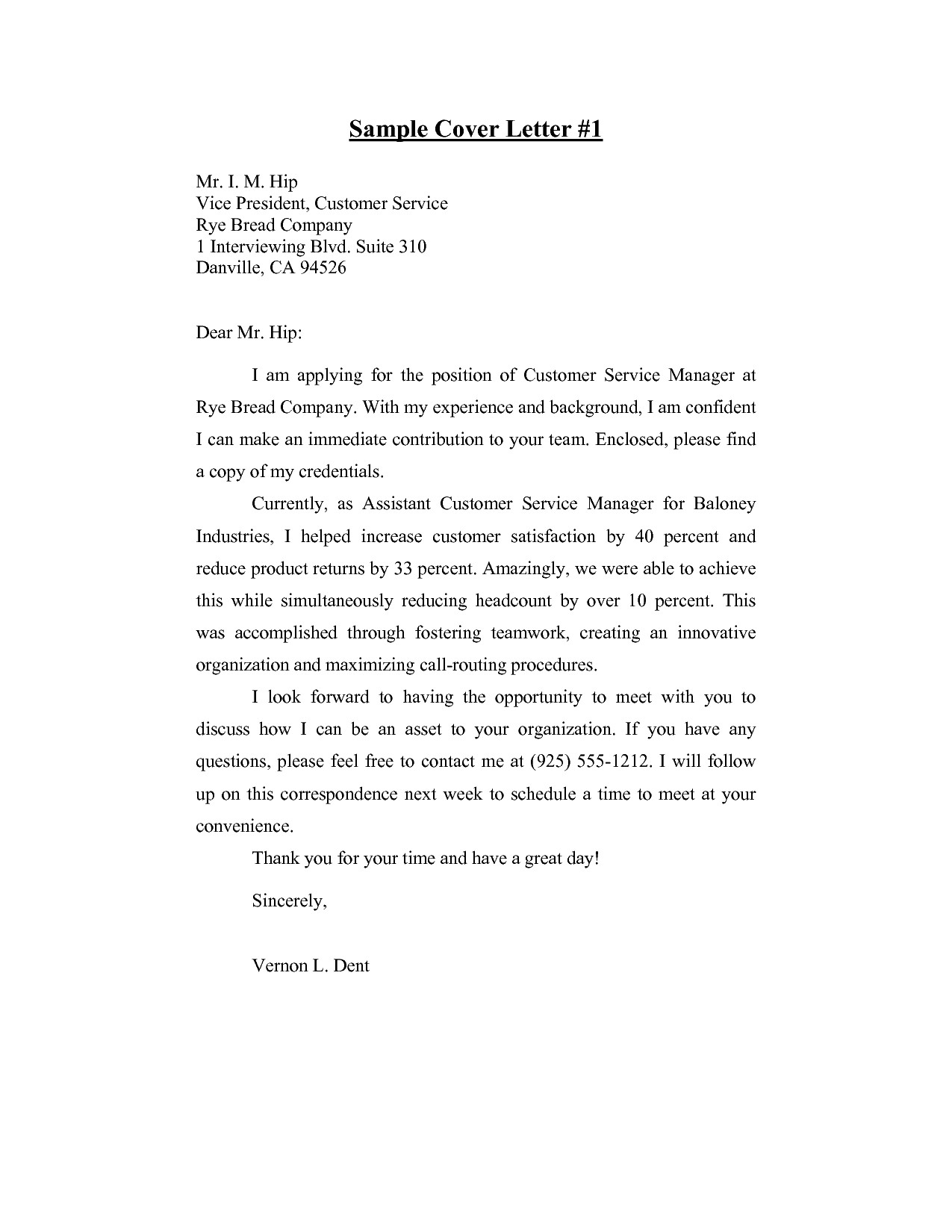 resume cover letter for customer service manager