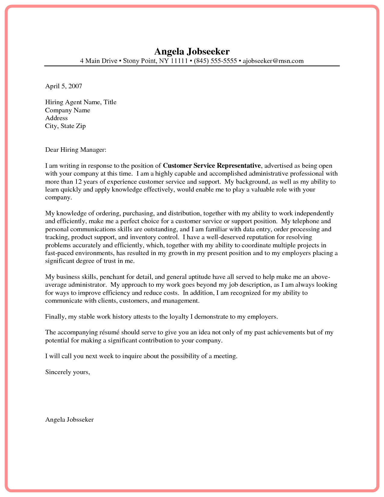 describe background and qualifications for the position customer service representative cover letter sample