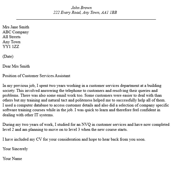 customer services assistant cover letter