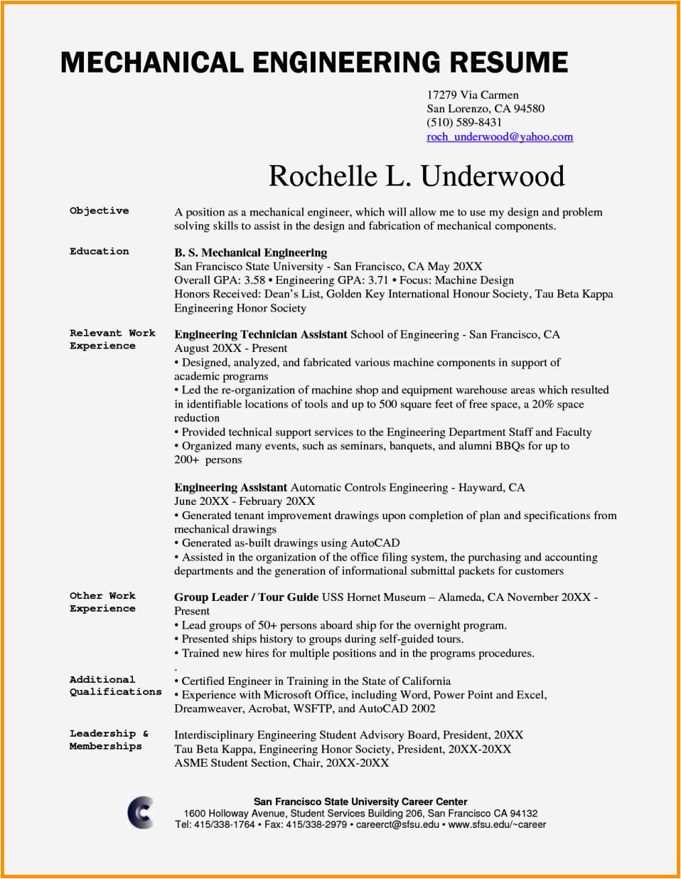 mechanical engineer cv example