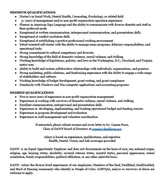 cover letter for domestic violence job