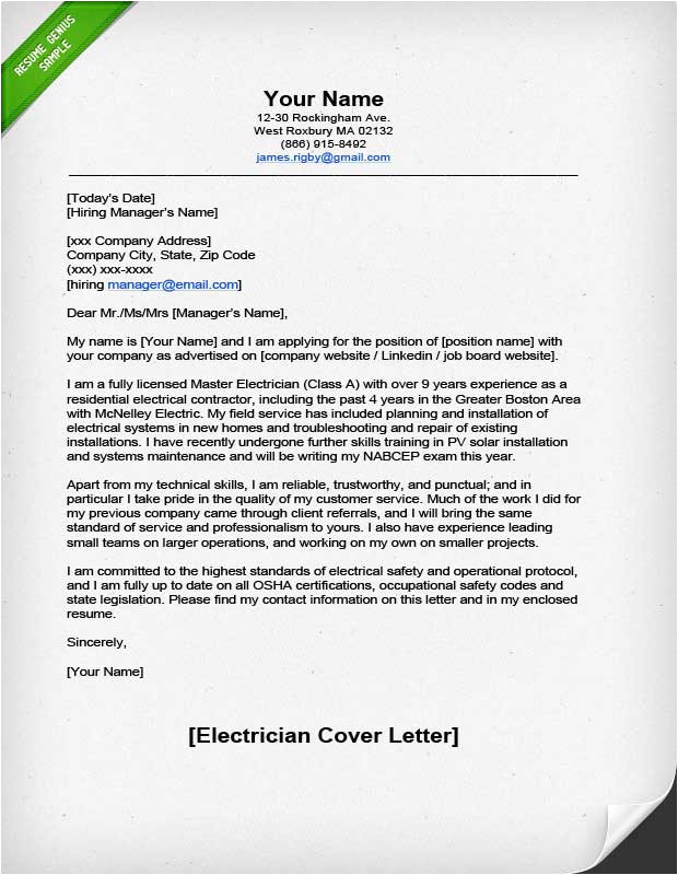 electrician cover letter