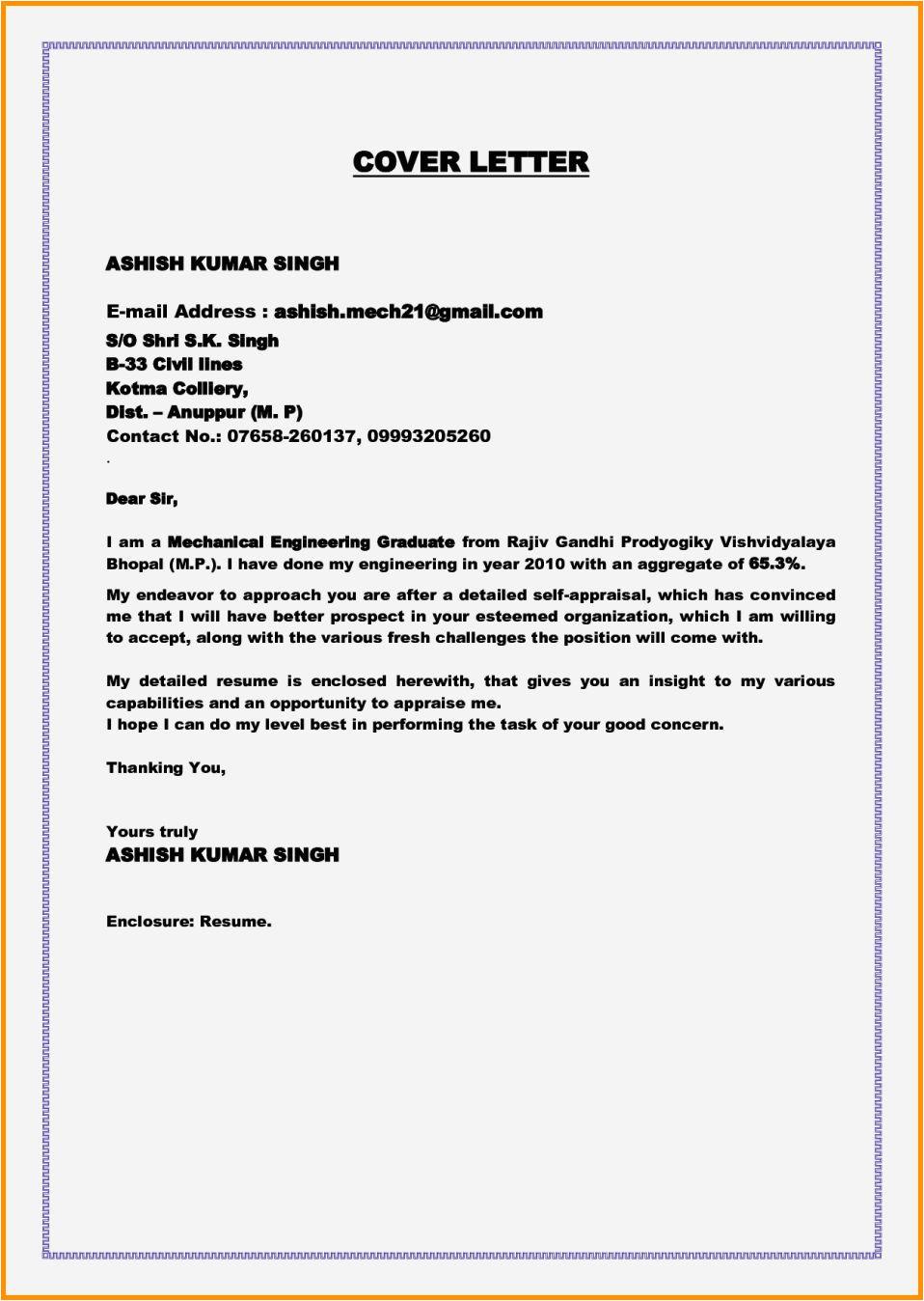 fresher cover letter for job application