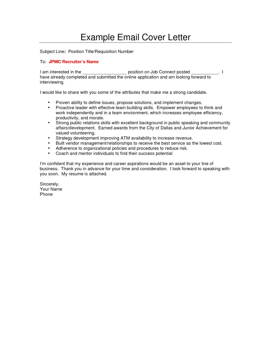 Cover Letter for Emailed Resume Cover Letter Email Sample Template Learnhowtoloseweight Net