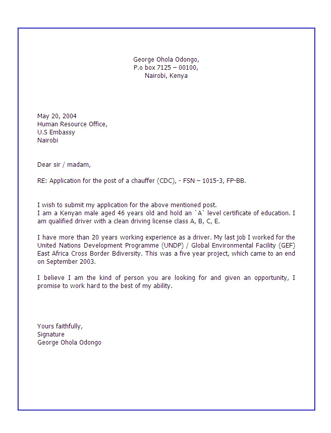letter for requesting job opportunity