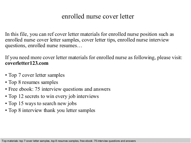 Cover Letter for Enrolled Nurse Enrolled Nurse Cover Letter