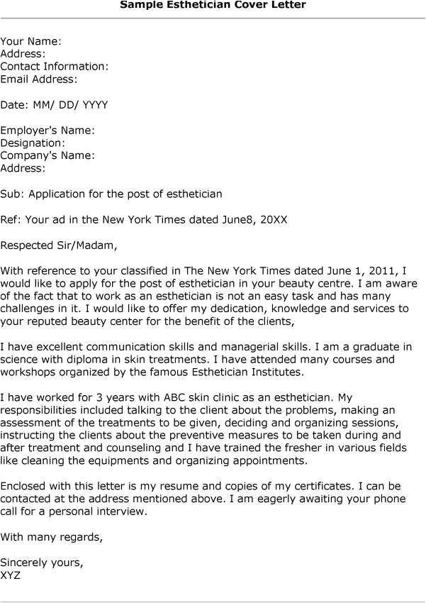 Cover Letter for Esthetician Position Aesthetician Resume Cover Letter Http Www Resumecareer