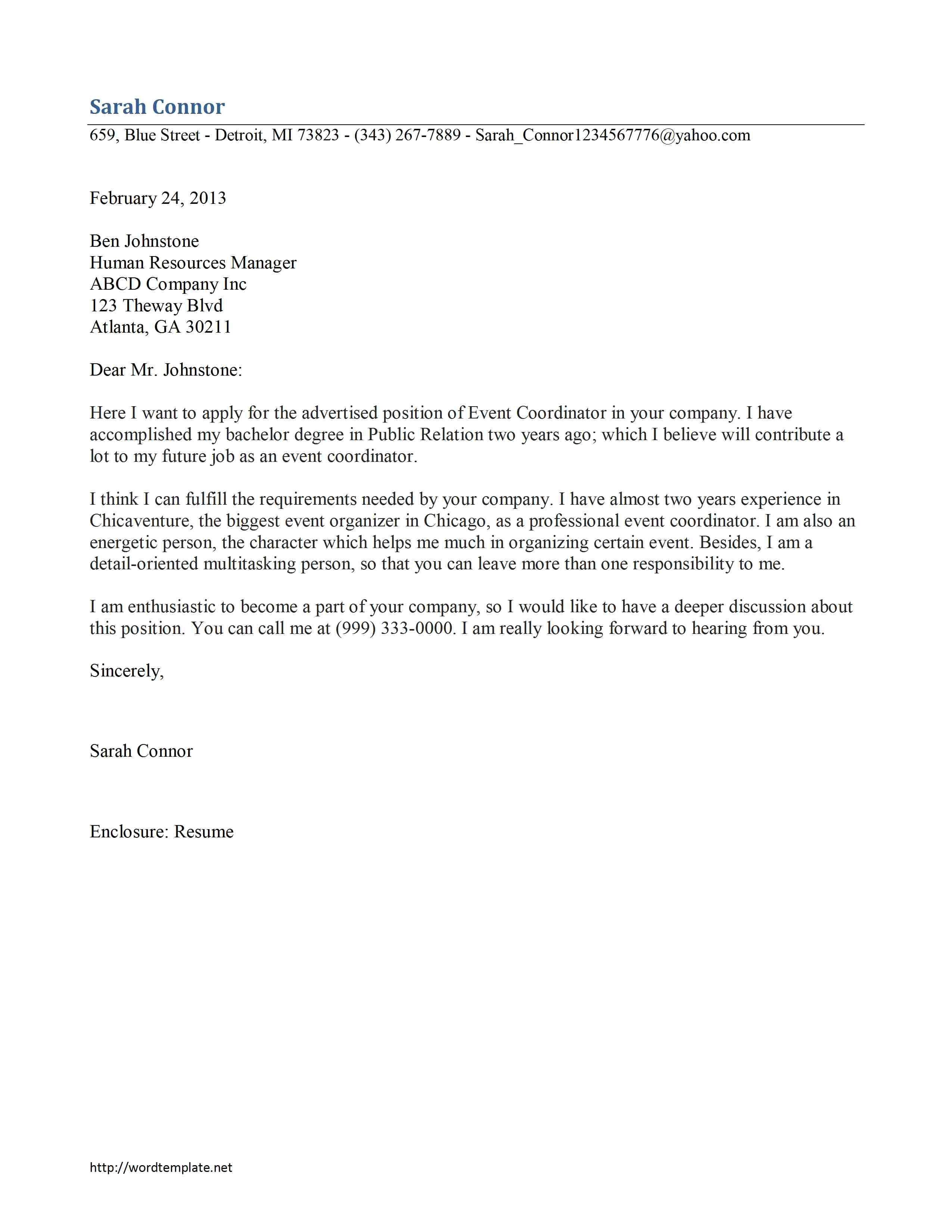 event coordinator cover letter template