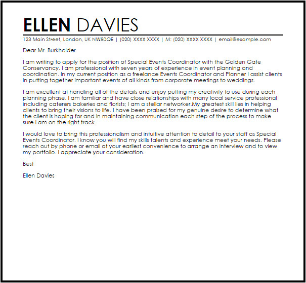 Cover Letter for event Coordinator Position Special events Coordinator Cover Letter Sample Cover
