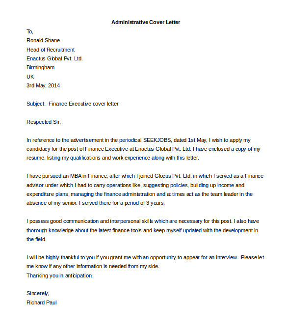 sample cover letter experienced