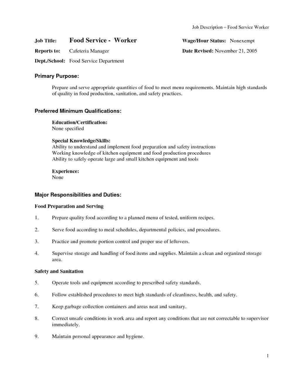 Cover Letter for Family Service Worker Food Service Worker Cover Letter Cover Letter