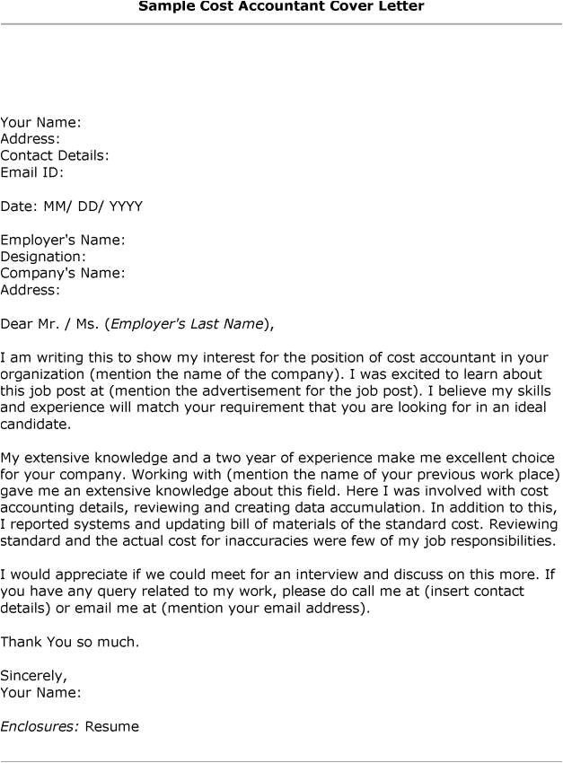 sample cover letter accounting job application