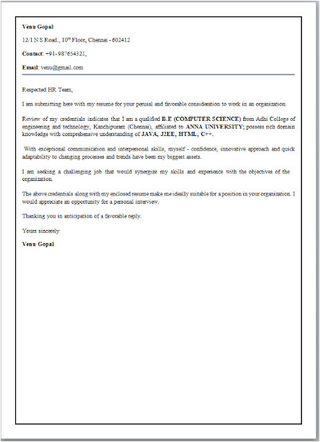 cover letter format for freshers