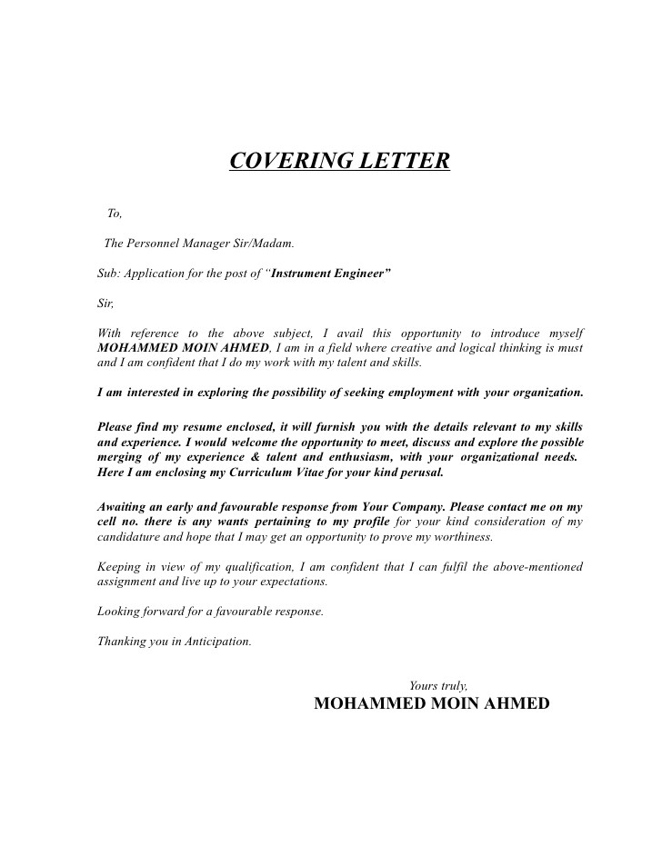 cover letter for electronics and communication engineer fresher