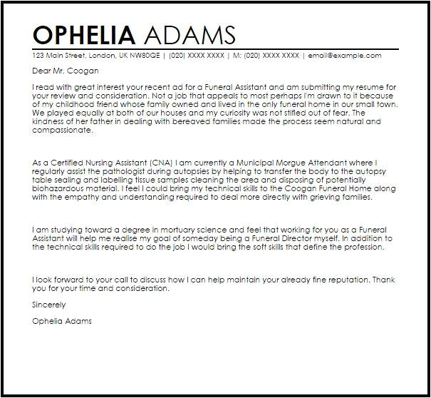 Cover Letter for Funeral assistant Cover Letter for Funeral assistant Templates