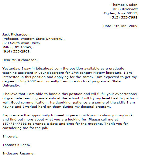 cover letter examples university teaching assistant