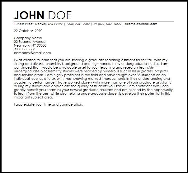graduate assistant letter template