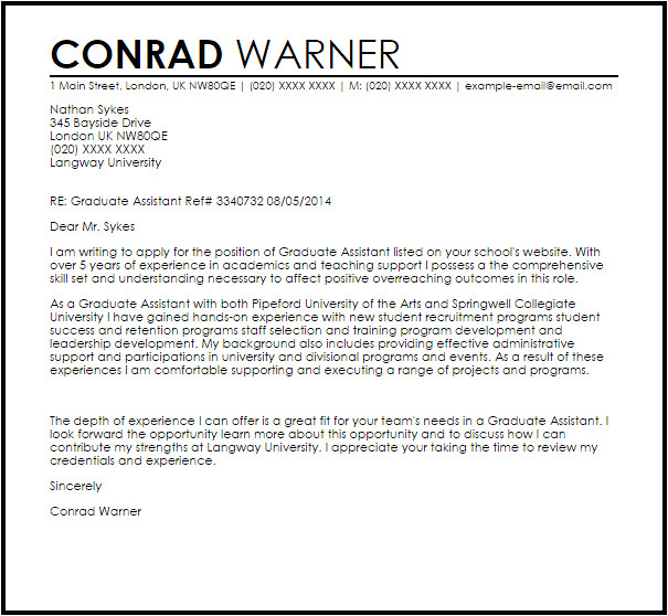 Cover Letter for Graduate assistantship Position Graduate assistant Cover Letter Sample Cover Letter