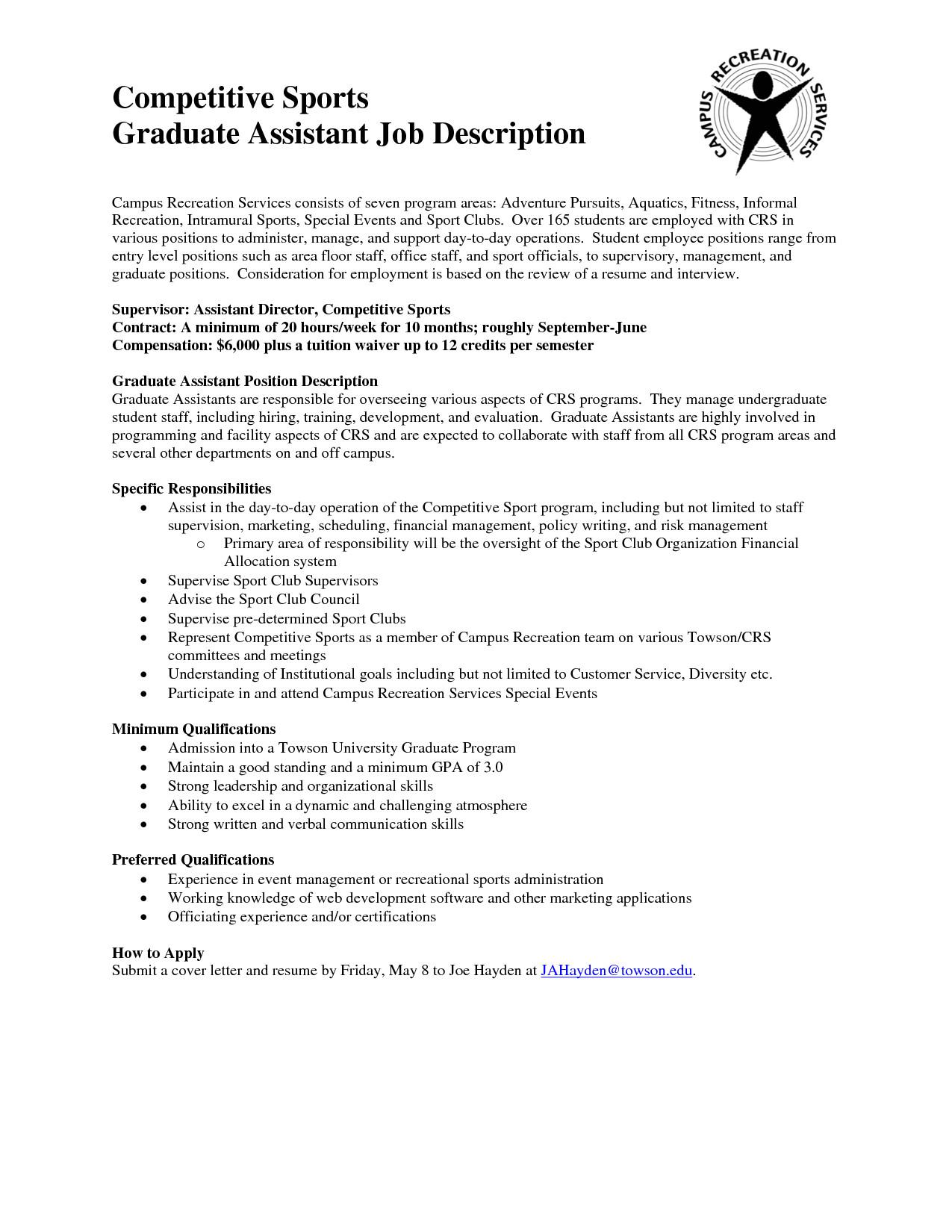 resume sample graduate assistant