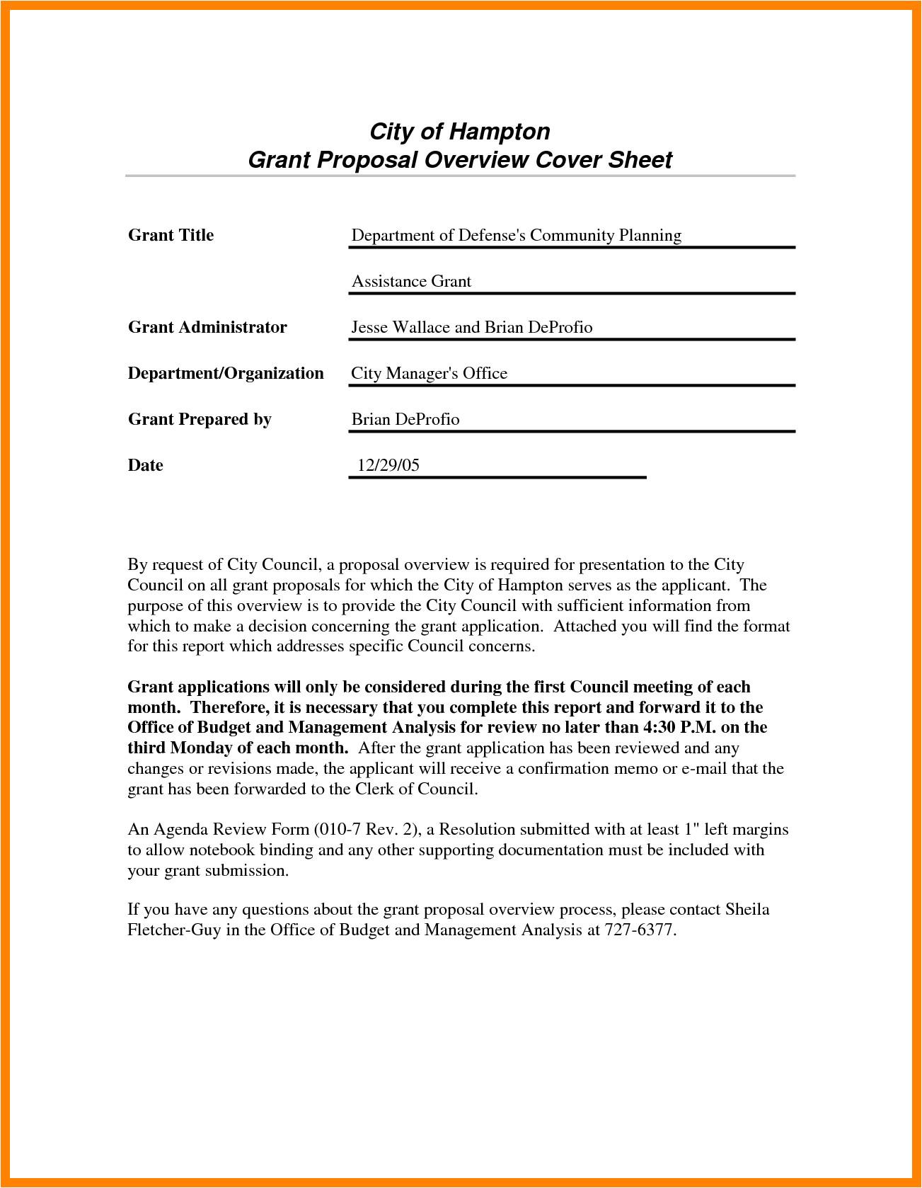 grant application sample