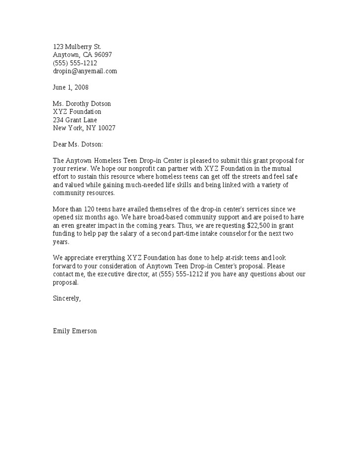 sample letter of support for grant application