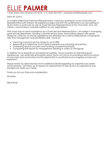 cover letter hospitality customer service