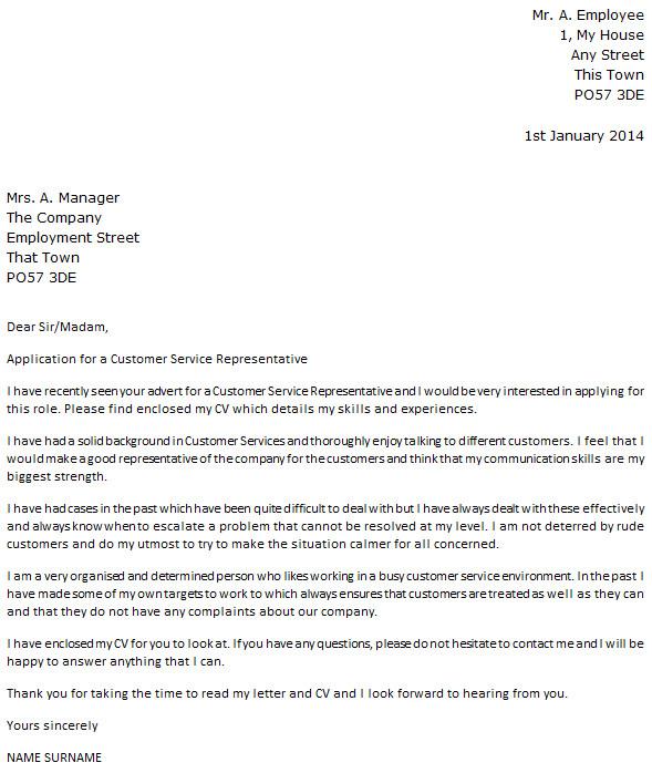 customer service representative cover letter example