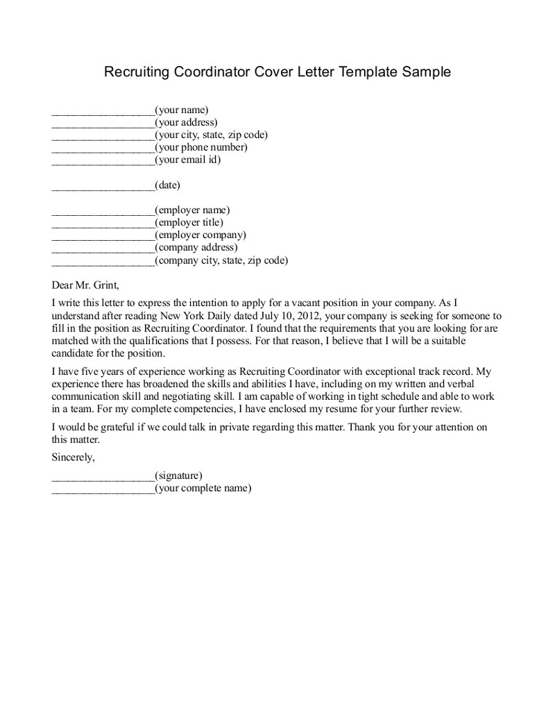 recruiter cover letter 440