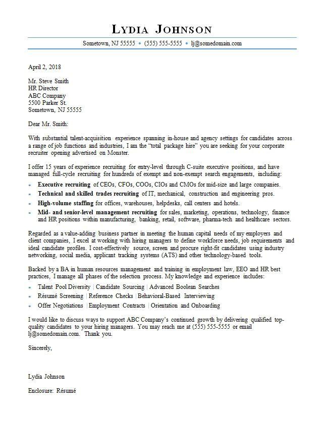 Cover Letter for Headhunter Recruiter Cover Letter Sample Monster Com