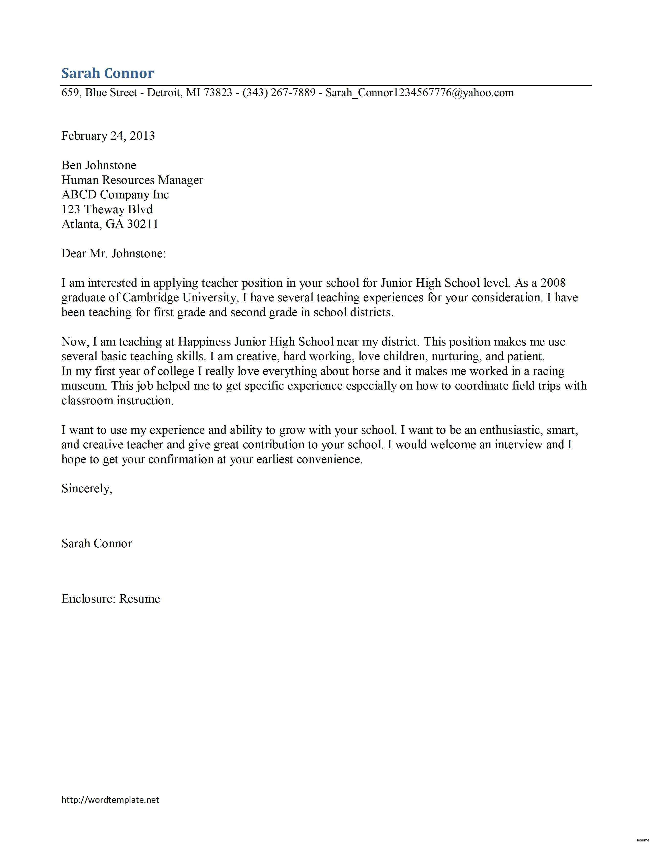 Cover Letter for High School Teaching Position High School Teaching Cover Letter Examples