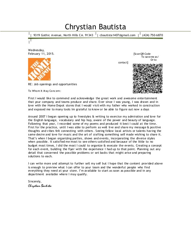 Cover Letter for Home Depot Chrystian Bautista Cover Letter 2015 Home Depot