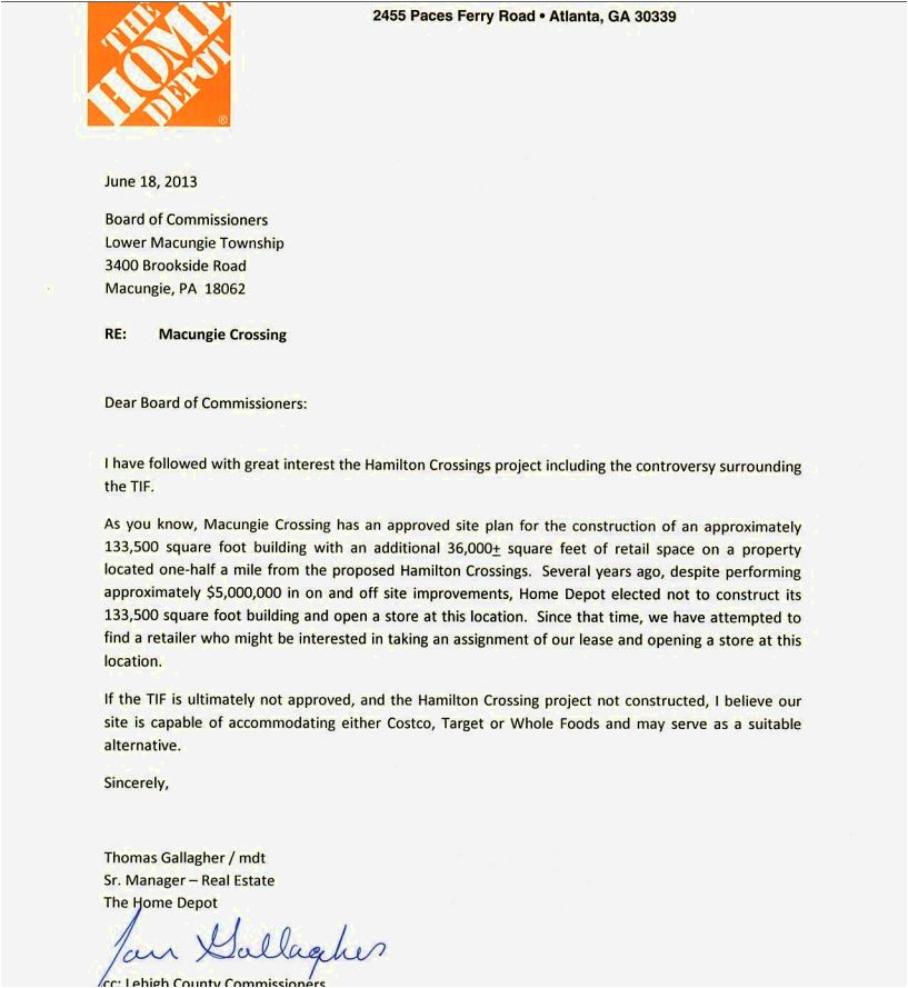 cover letter for home depot