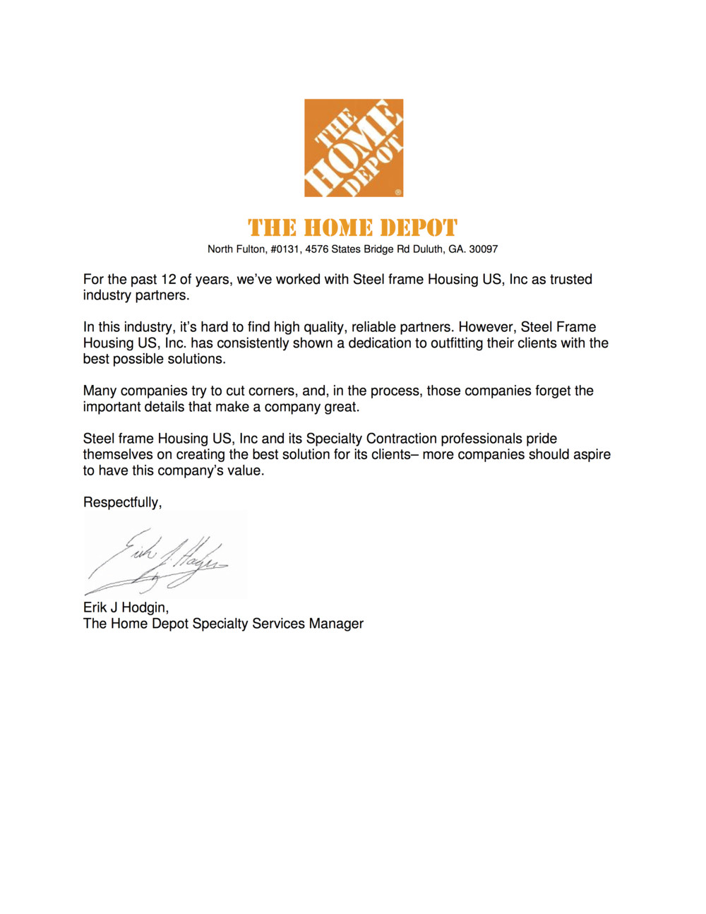 home depot letters