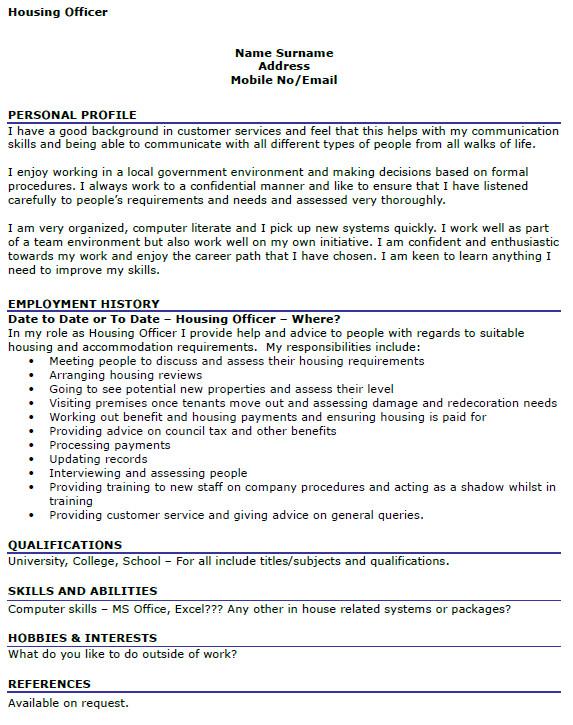 housing officer cv example