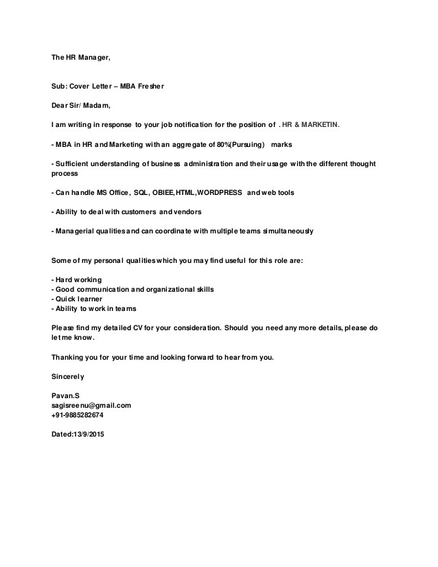 Cover Letter for Hr Executive Fresher the Hr Manager Cover Letter