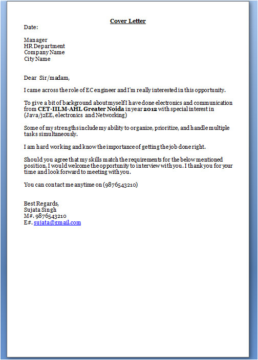 Cover Letter for Hr Fresher Job Cover Letter for Freshers