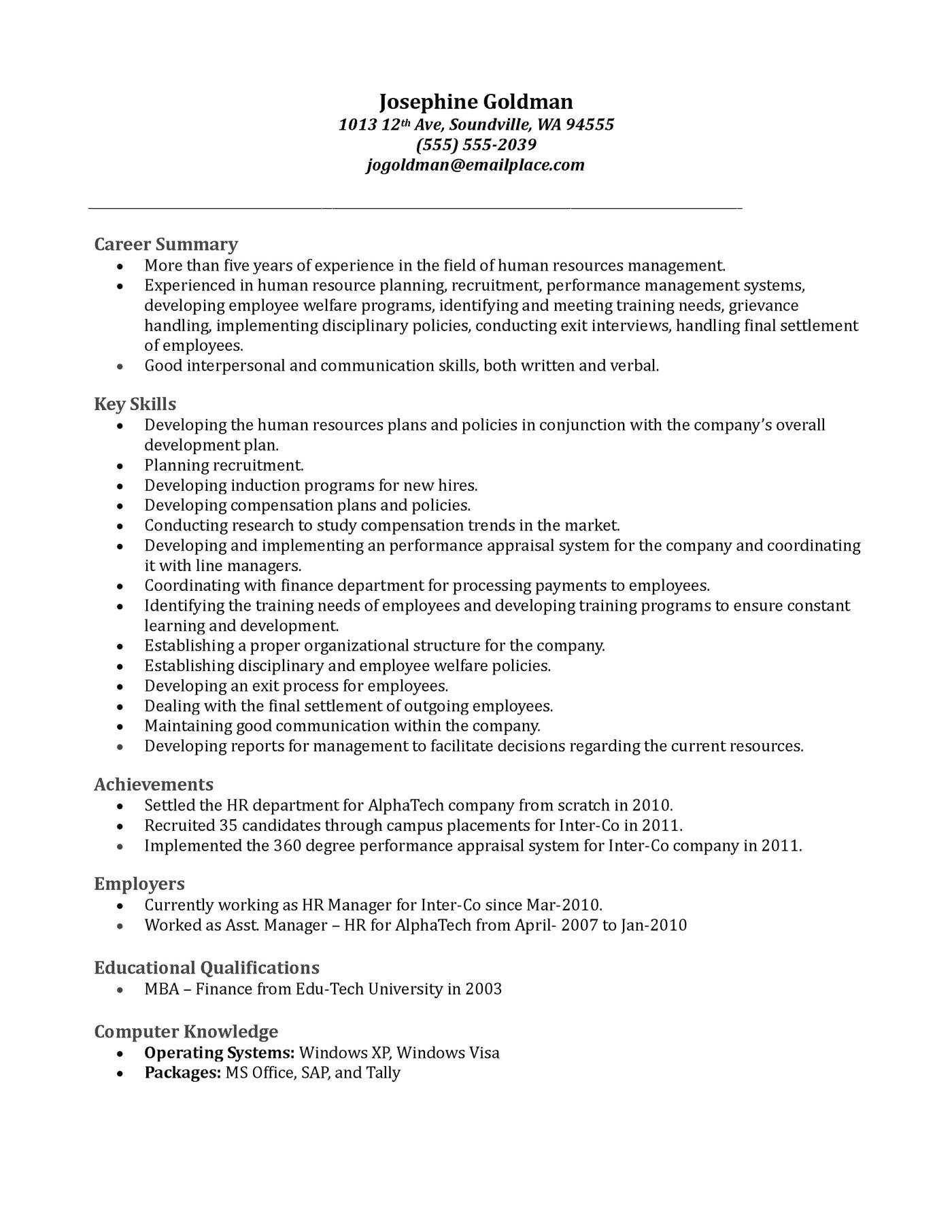 Cover Letter for Hr Fresher Job Professional Resume Human Resources Manager Bongdaao Com