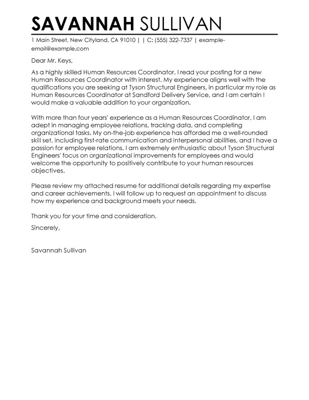 Cover Letter for Hr Role Best Hr Coordinator Cover Letter Examples Livecareer