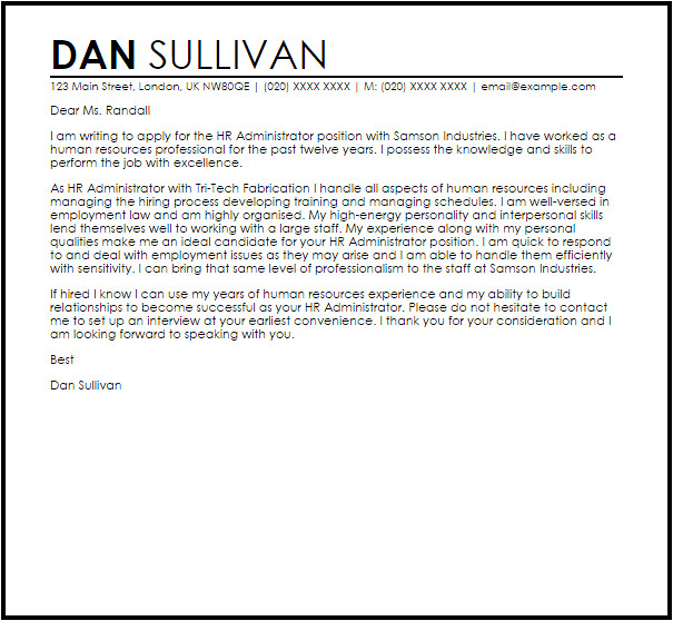 Cover Letter for Hr Role Hr Administrator Cover Letter Sample Cover Letter