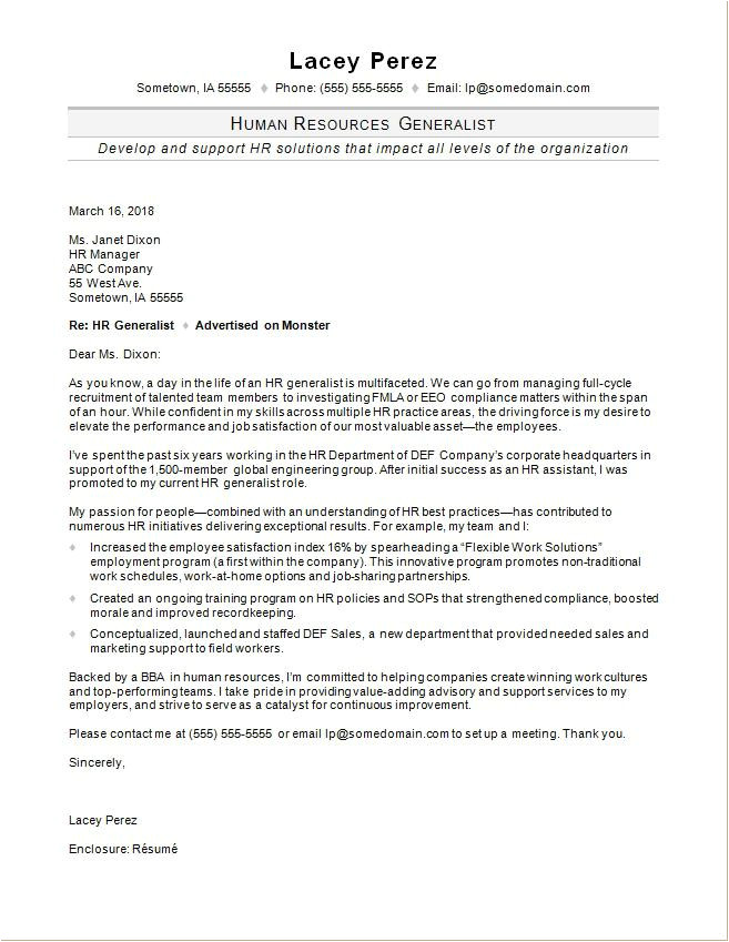 Cover Letter for Hr Role Hr Generalist Cover Letter Sample Monster Com
