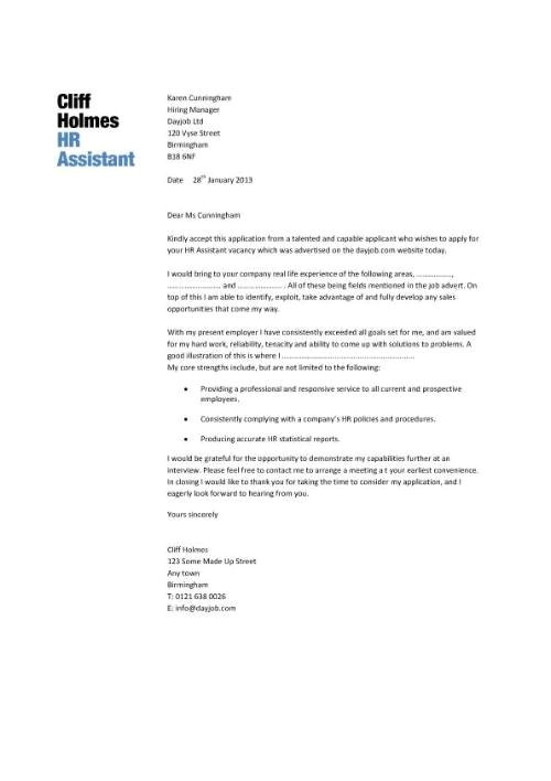 cover letter human resources assistant